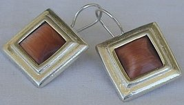 Brown cat eye square earrings - $30.00