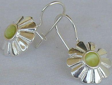 Mini green peridot sun earrings