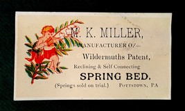 1880s M K MILLER SPRING BED AD CARD pottstown pa WILDERMUTHS PATENT manu... - $34.95