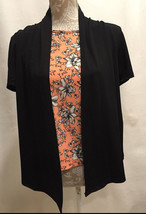 NEW JM Jonathan Martin Women Black Foral TOP with Floral Attached Vest C... - $23.99