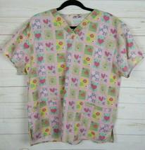Malibu Doc Womens Short Sleeve Pink Heart Scrubs Size L W1243 - $9.99