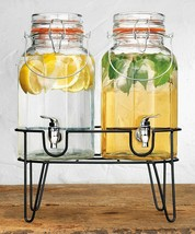 Elegant Home(2) 1Gallon Each Quality Ice Cold Clear Glass Jug Beverage D... - $54.44