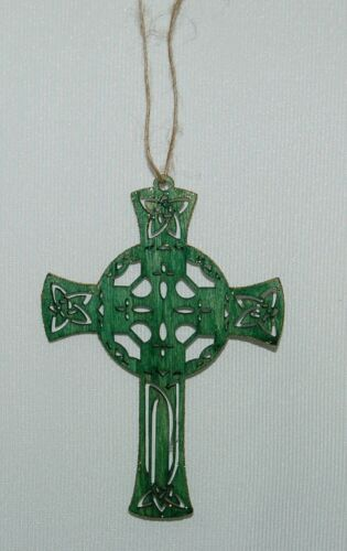 Small Wooden Celtic Cross 4 Inches Green Small Gold Glitter Edges