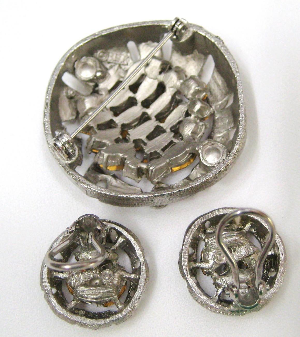 Vintage BSK Amber Rhinestone Brooch Pin Earrings Parure