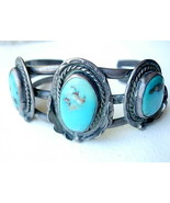 Vintage Navajo Bracelet with 3 Blue Turquoise - $165.00