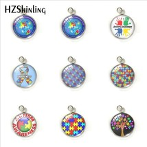 2019 Figure Kids Autism Awareness Classic Round Charms Steel Glass Round... - $7.50