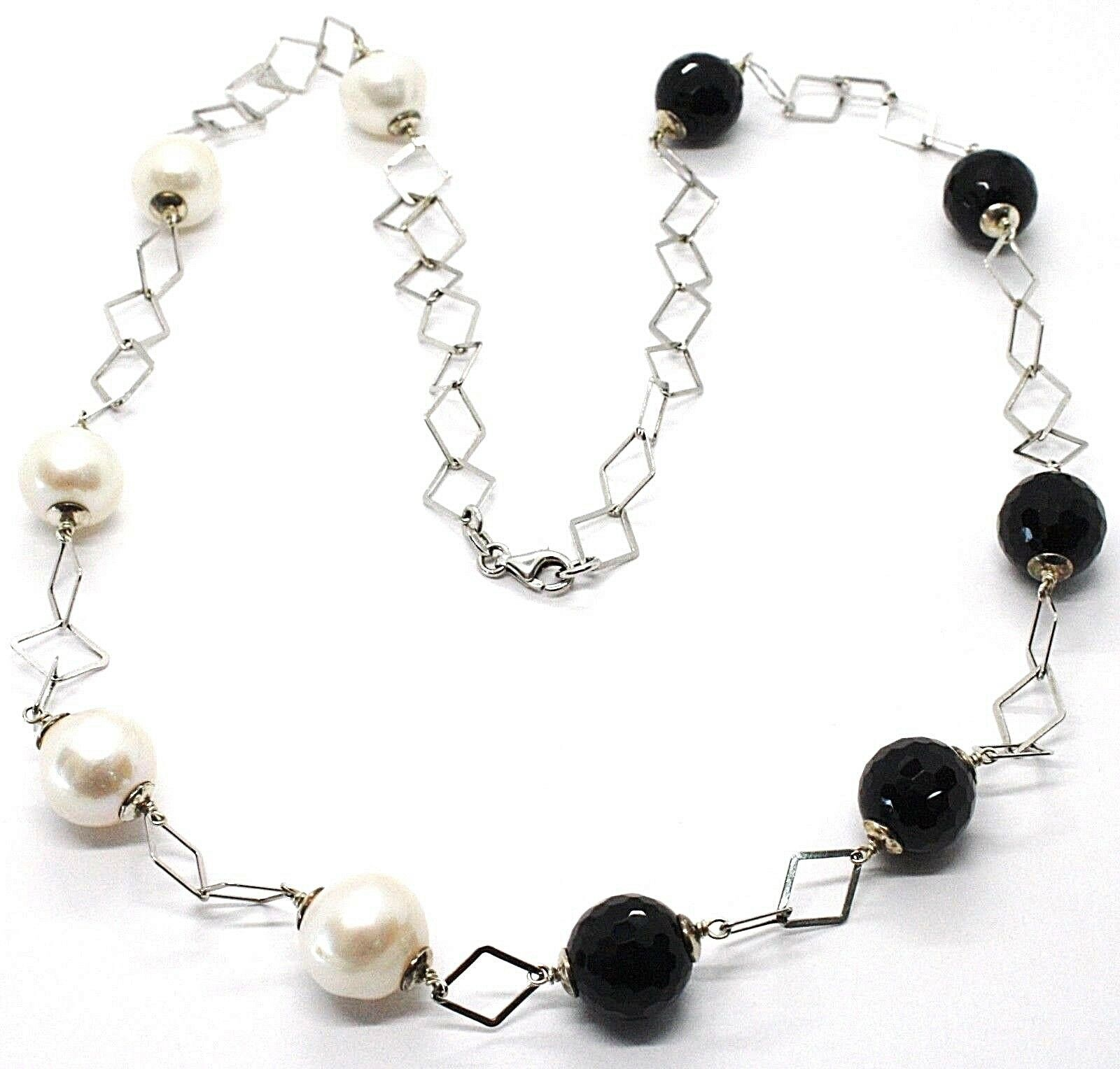 Primary image for Necklace Silver 925, Onyx Black Faceted, Pearls, 62 cm, Chain Rhombuses