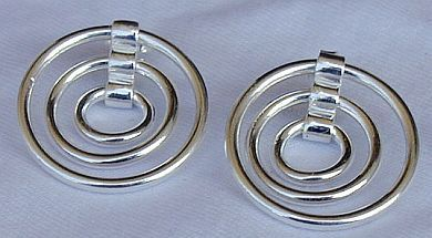 3 hoops silver earrings