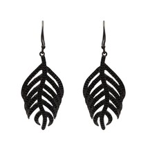 Round Cut Black Spinel Gemstone 925 Sterling Silver Leaf Design Dangle E... - $28.14