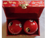 Chinese Baoding Therapy Stress Balls Enamel Cloisonne Finish Yin Yang Red in Box