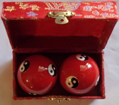 Chinese Baoding Therapy Stress Balls Enamel Cloisonne Finish Yin Yang Re... - $11.99