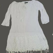 White Tunic Top Sheer  Lace Hemline Trim Fringe 3/4 Length Sleeve Ties N... - $28.71