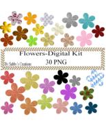 Flowers Digital Kit 3-Art Clip-Gift Tag-Jewelry-T shirt-Notebook-Scrapbook - $1.99
