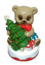 Chriatmas Teddy Bear & Lighted Tree Vintage Handmade Holiday Ceramic Dec... - $36.00
