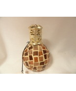 Scent Bottle Amber Mosaic Glass with Wick - $15.99