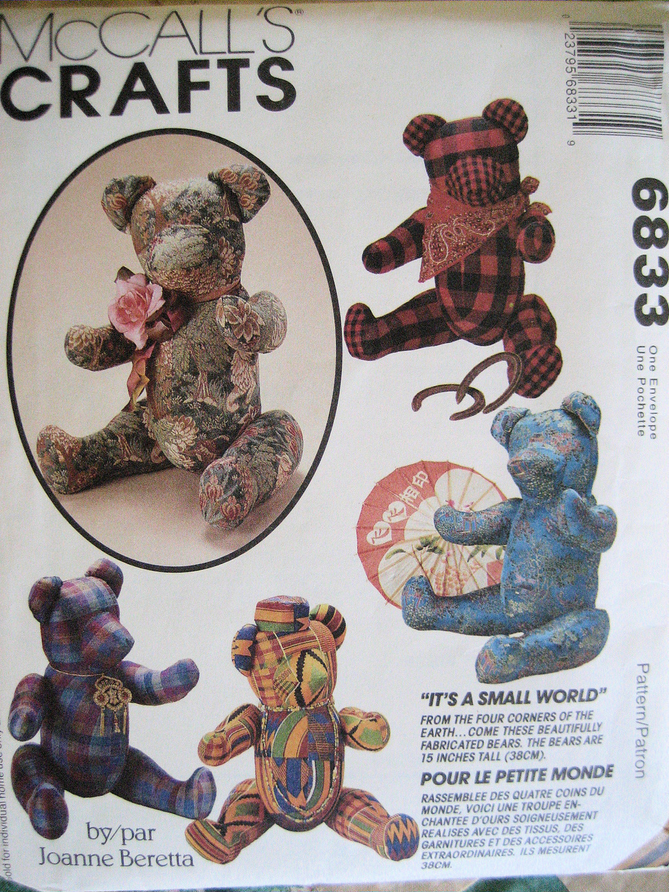McCalls 6833 Craft Pattern 15 Inch Jointed Bears Joanne Baretta with Scafes