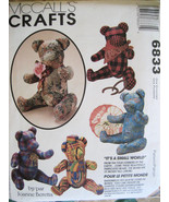 McCalls 6833 Craft Pattern 15 Inch Jointed Bears Joanne Baretta with Scafes - $9.95