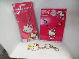 Hello Kitty Lot Of Girls Locket Necklace, Bracelet & Key Ring - $35.00
