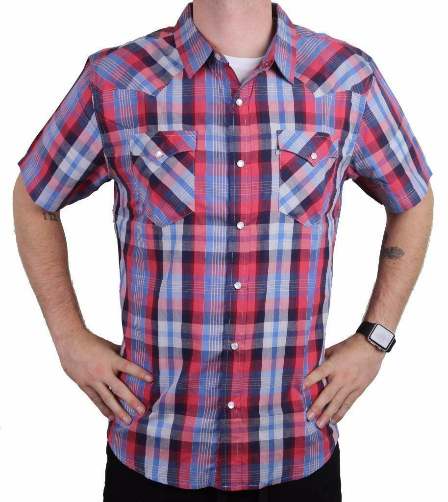 NEW LEVI'S MEN'S COTTON CASUAL BUTTON UP SHORT SLEEVE SHIRT PLAID RED-3LYLW6082