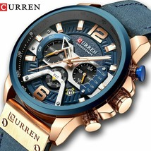 CURREN Casual Sport Watches Luxury Military Leather Wrist Watch Man Chronograph - $19.99