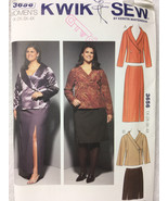 Kwik Sew 3656 WomensJackets and Skirts Sewing Pattern Sizes 1X, 2X, 3X, 4X - $14.00