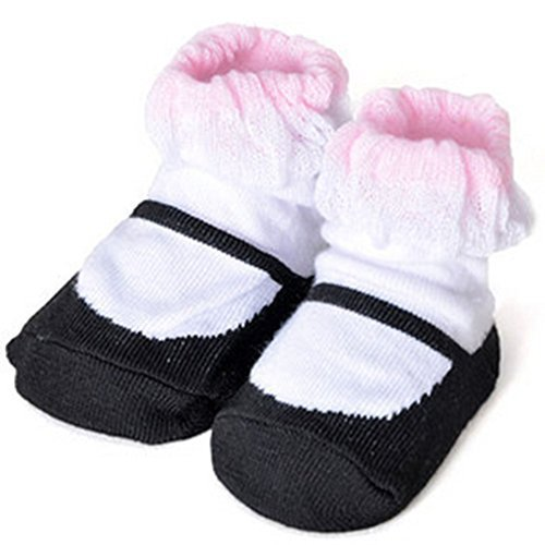 Baby Socks Lovely Cotton Summer Infant Socks 0-12 Months(WhiteBlack)