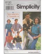 Simplicity 8190 Mens' Womens' Western Shirt Pattern ~ L-XL - $8.95