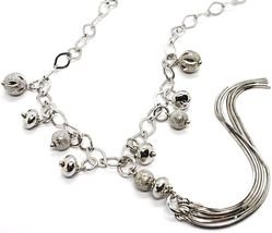 Silver 925 Necklace, Chain Oval, Waterfall, Fringed, Spheres Pattern~Hanging image 3