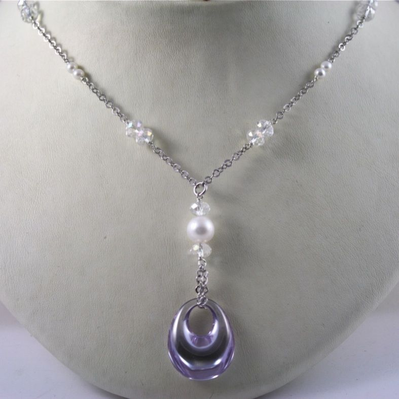 925 Silver Necklace with Pearls Crystals and Pendant in zircon