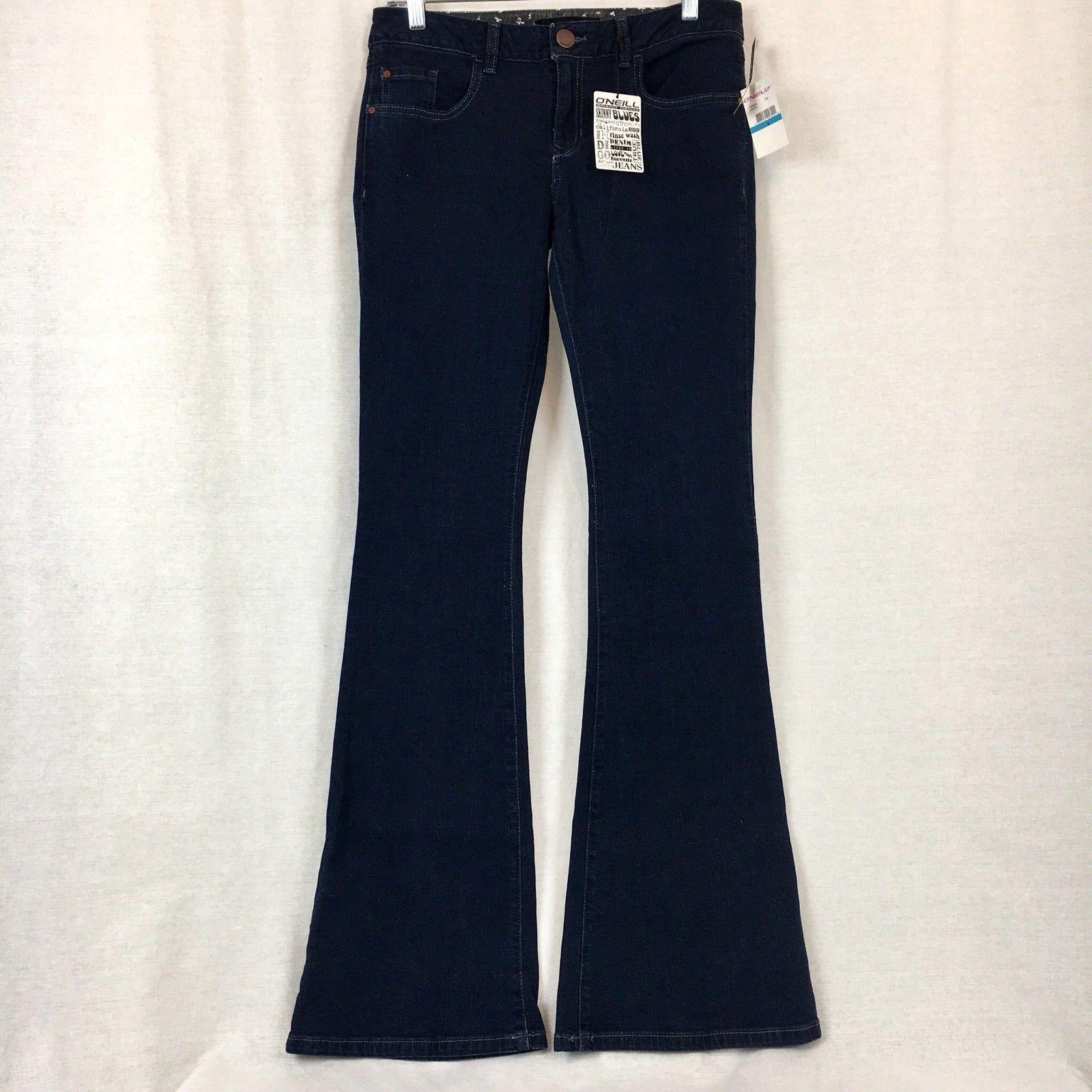 O'Neill Womens Jeans Blue Dark Wash Cotton Stretch Flare Juniors Size 9x34