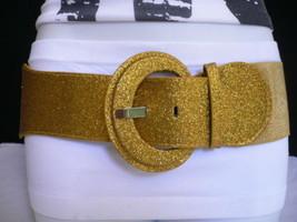 New Women Hip Elastic Waist Sparkling Gold Trendy Fashion Glitter Belt Xs S M - $13.71