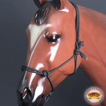 Western Horse Halter 5/16 Inch Braided Poly Rope Black White Hilason U-H167 - $12.99