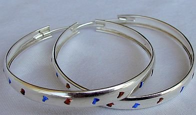 Reddish and blue hoops
