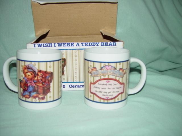 I WISH I WERE A TEDDY BEAR CERAMIC MUGS SET OF 2 IN BOX
