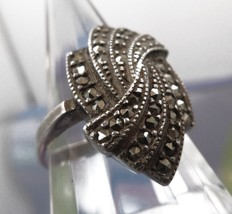 sz 8 Art Deco Vintage Ring Sterling Silver Covered in Marcasite signed W... - $37.50