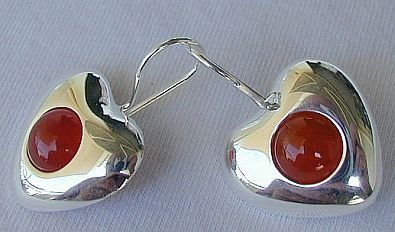 Reddish hearts earrings