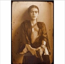Frida Kahlo Portrait shooting gun Mexican painter nude vintage Canvas print - $27.91