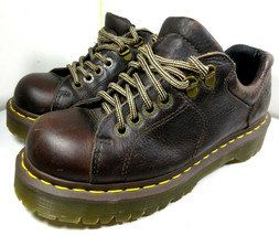 DR. MARTENS Mens 10940 Chunky Brown Leather 6 Eyelet Lace Up Size US 7M 8W - $39.55