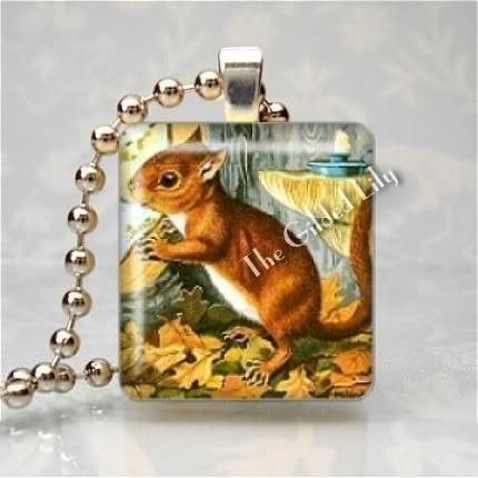 SWEET SQUIRREL ANIMAL Scrabble Tile Art Pendant Charm