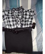 B-Wear Byer California Size M Juniors top Black & White with Belt - $19.00