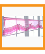 valances curtain pink ruffle cotton window treatment kitchen bedroo ribbon - $32.50