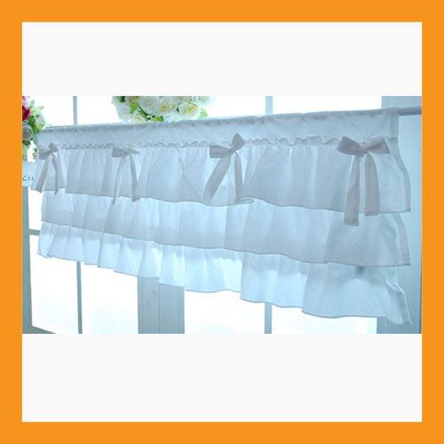 white ruffle cotton valance curtains ribbon window treatment kitchen bedroom - $32.50