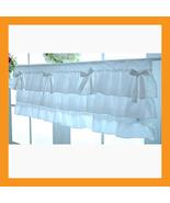 white ruffle cotton valance curtains ribbon window treatment kitchen bed... - $32.50