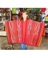 Typical peruvian red Poncho with stripes, made of Alpacawool - $115.00