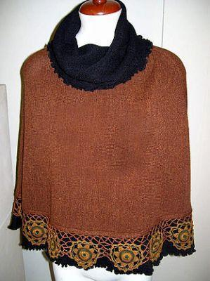 Primary image for Embroidered Poncho with turtleneck, Alpaca wool