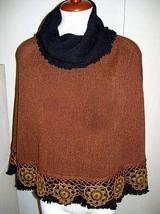 Embroidered Poncho with turtleneck, Alpaca wool - $172.00
