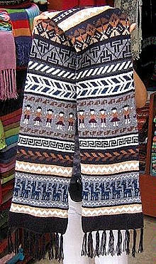 Primary image for Ethnic peruvian Scarf,shawl made of  pure Alpaca wool
