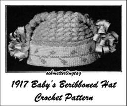 1917 Titanic WWI Baby Hat Crochet Pattern Cap Baptism Christening Shower... - $5.99