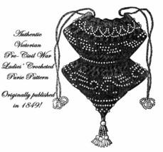 Antebellum Civil War Era Beaded Crochet Purse Pattern 1849 Reenactor Reenactment - $3.99
