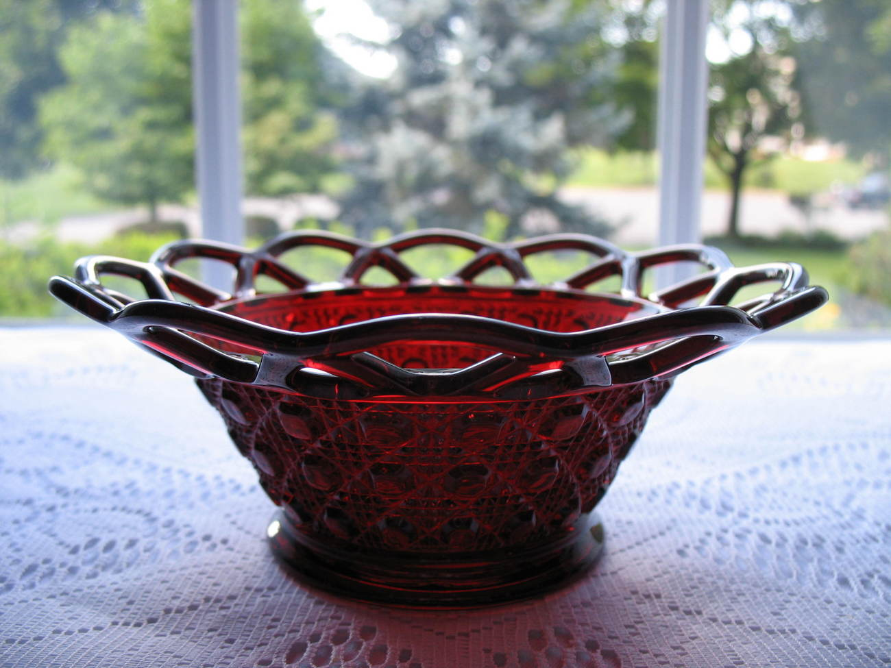 Imperial Glass RUBY Lace Edge Bowl